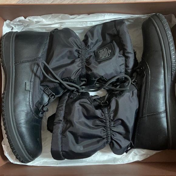 Black Leather Coach Snow Boots
